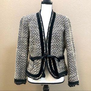 Zara women brown tweed long sleeves blazer Sz 12